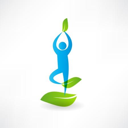 motley: Man yoga tree icon Illustration