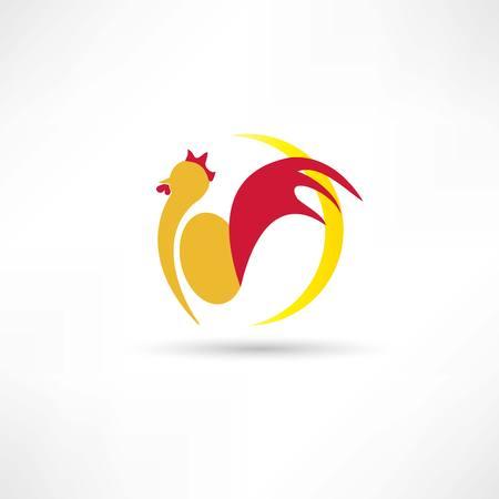 rooster at dawn: gallo si sveglia la mattina icona Vettoriali
