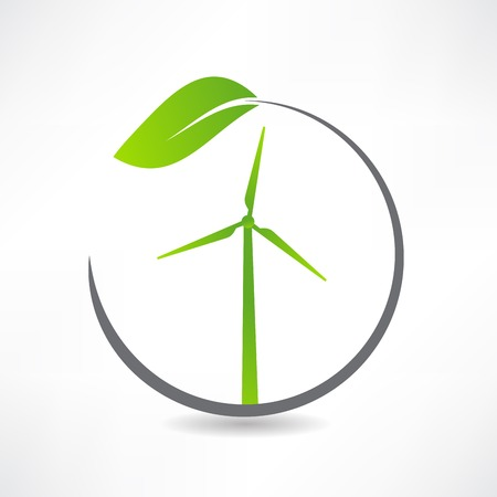 green ecological windmill icon