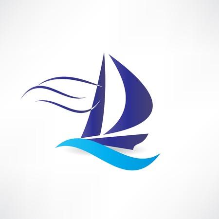 Segelboot auf dem Meer Symbol Standard-Bild - 24584272