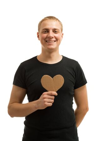 Man holding a heart photo