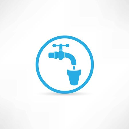 Blue tap water tap icon photo