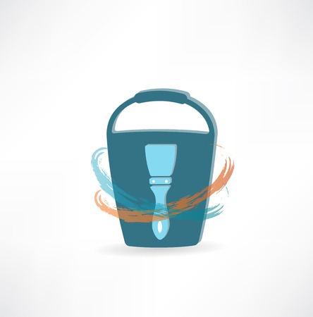 bucket with brush icon photo