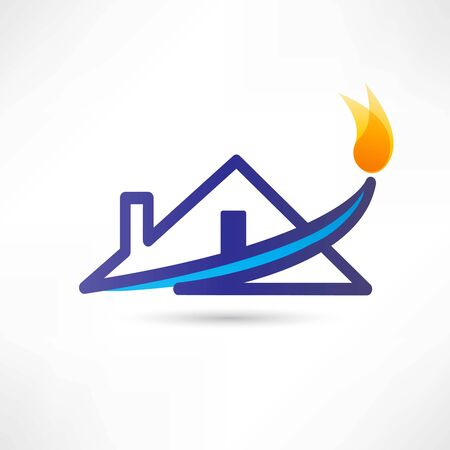 natural gas: gas water house icon Stock Photo