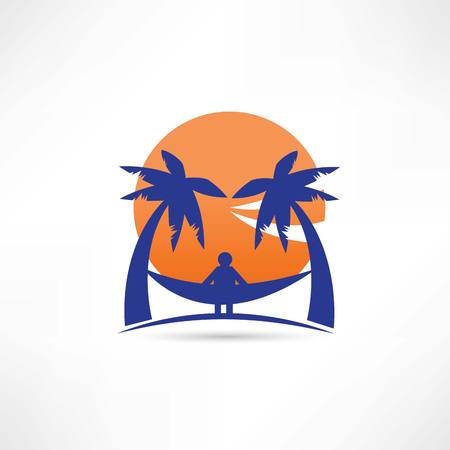 sunup: man among the palms icon Stock Photo