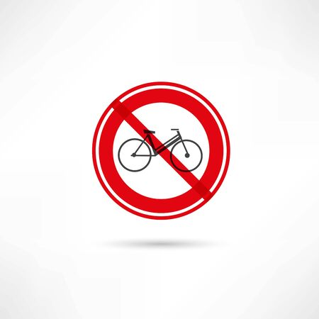 warning against a white background: travel by bicycle is prohibited icon Stock Photo