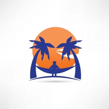 sunup: man among the palms icon Illustration