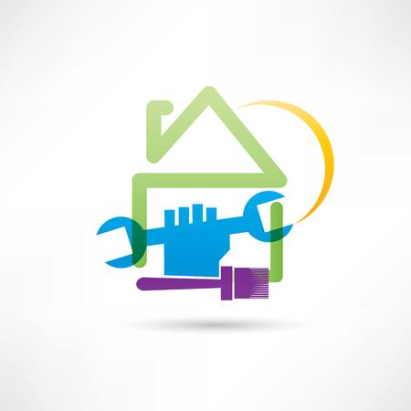 plumbing house painting house icon Vector