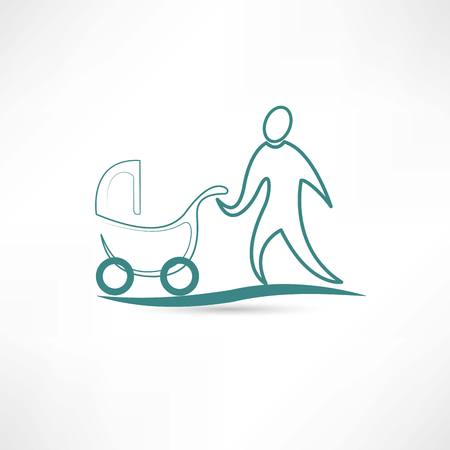 stroller: father with stroller icon Illustration