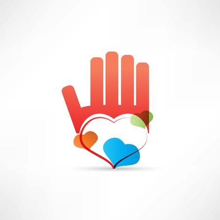 red hand and heart icon