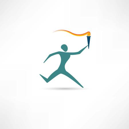 running man with a torch icon Vector