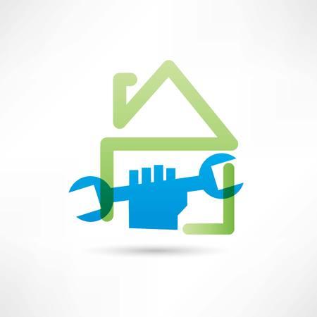 maintenance symbol: home plumbing icon Illustration