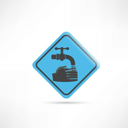 infection prevention: blue sign wash your hands icon