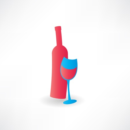 scotch: bottle with red wine icon Illustration