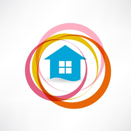 House and abstract circles icon 向量圖像