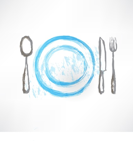 plate with spoon, knife and fork icon Vector