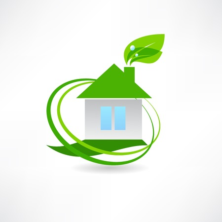 eco house and a green leaf icon Vector