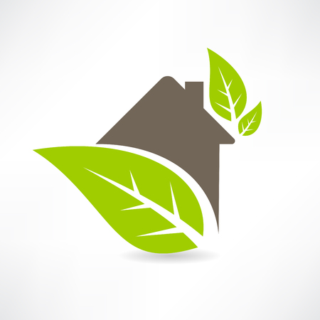 Eco house concept green leaf icon Vector