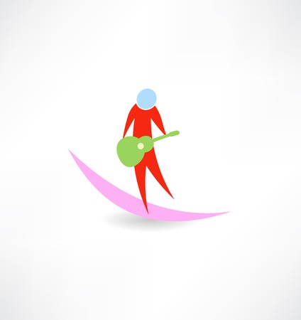 virtuoso: guitarist with red guitar Green abstraction icon