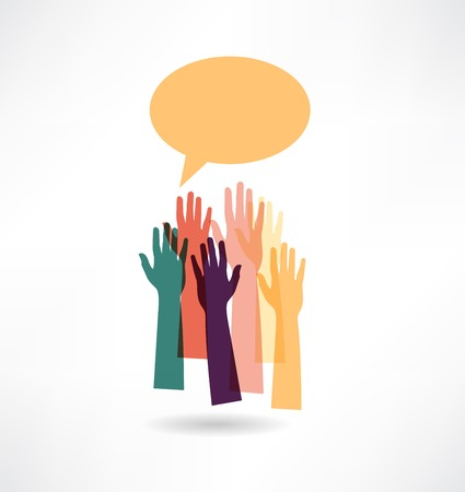 hands up group abstraction icon