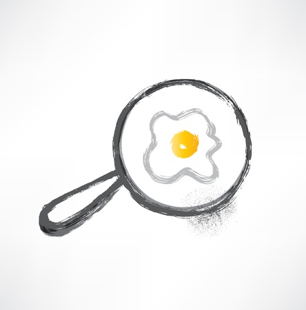 pan with fried eggs icon Vector