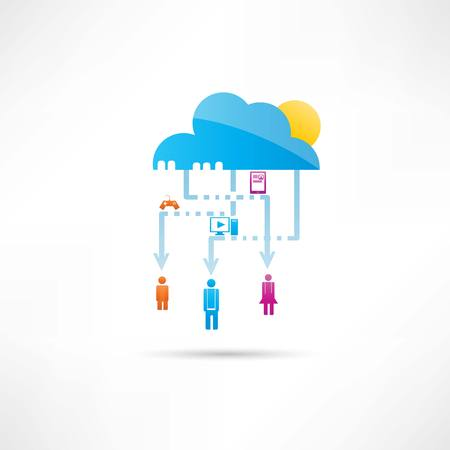 Cloud technology and entertainment icon Vector