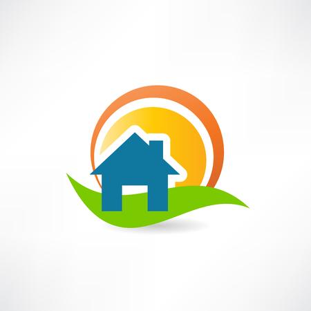 rolling landscape: suns house landscape concept icon