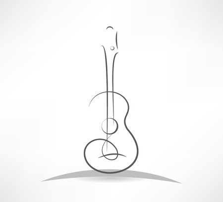 guitar: acoustic guitar bending line icon Illustration