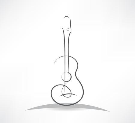 gitara akustyczna linia gięcia ikona Ilustracje wektorowe