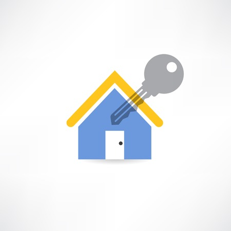dwell house: house key with a yellow roof  icon