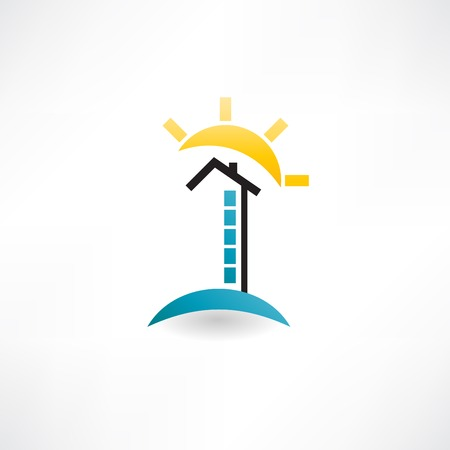 high-rise and sun icon Vector