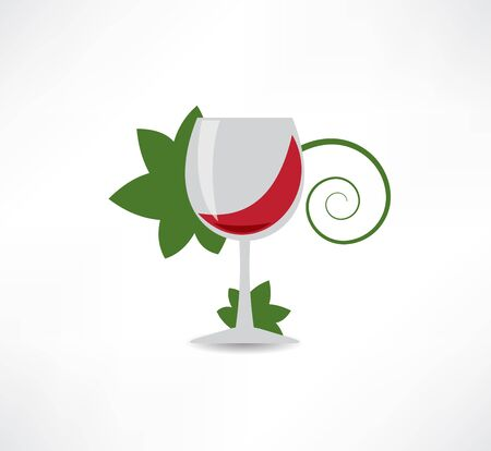 grape leaves and wine icon Vector