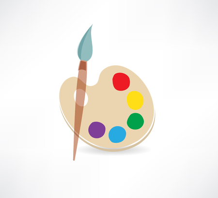 Palette and paint brushes icon