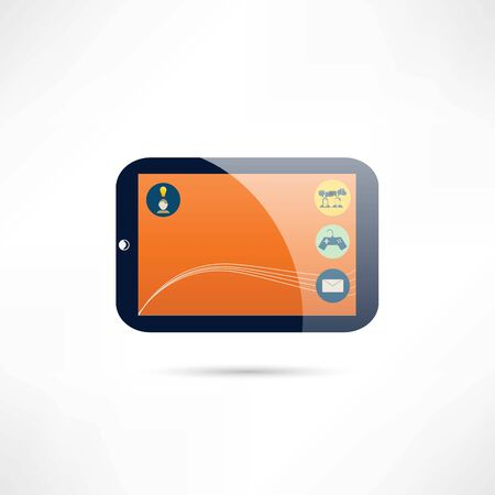 tablet: tablet and entertainment icon Illustration