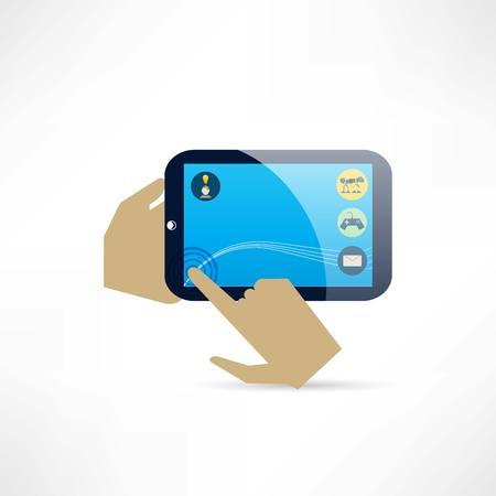 tablet en handen pictogram