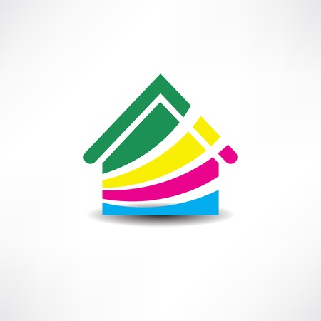 modern house: multicolored abstraction house icon
