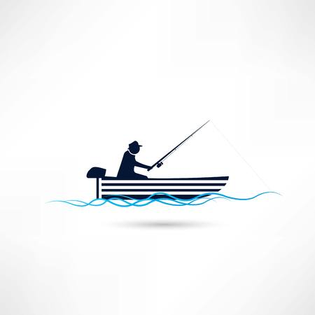 fisherman on vacation icon Vector