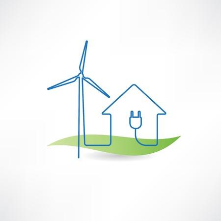家と風車アイコン  イラスト・ベクター素材