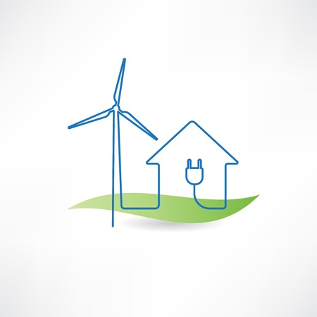 electrical outlet: house and windmill icon Illustration