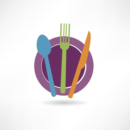 colorful elements on the plate icon Vector
