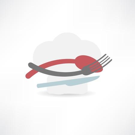 white hat chef and kitchen furniture icon Illustration