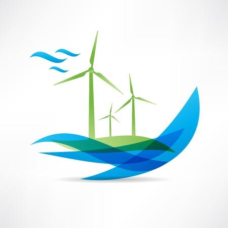 green windmolen in de buurt van het pictogram water Stock Illustratie