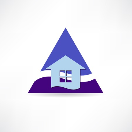 blue triangle and the house icon Vector