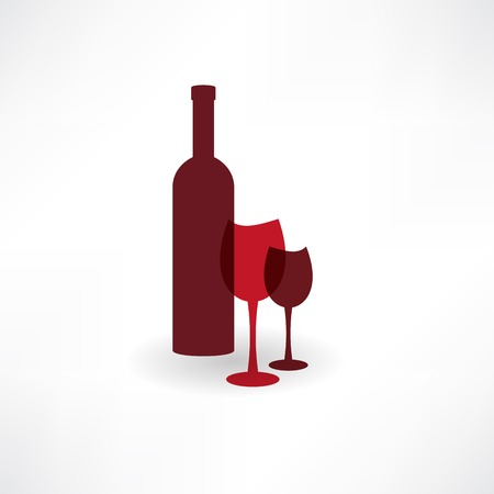 aperitif: bottle with a group of glasses of red wine icon Illustration