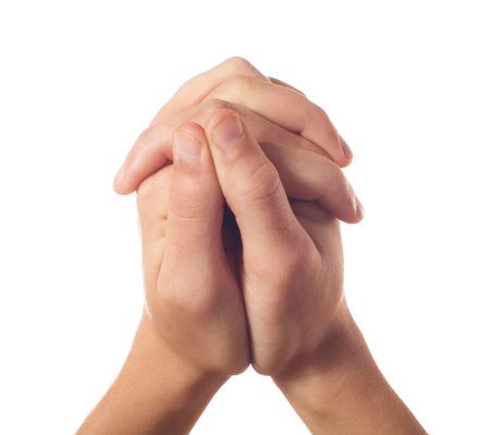 manos orando: Dos manos humanas en blanco Foto de archivo