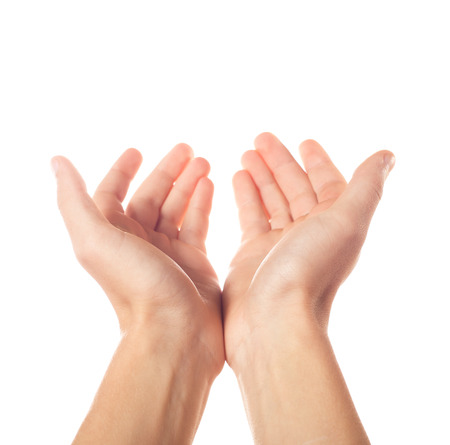 Two outstretched hands Stock Photo