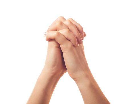 suplicando: Dos suplicantes manos humanas aisladas sobre fondo blanco