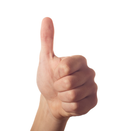 One human hand thumb up Stock Photo