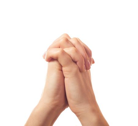 manos orando: Dos suplicantes manos humanas aisladas