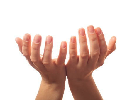 Two human hands asking for something photo